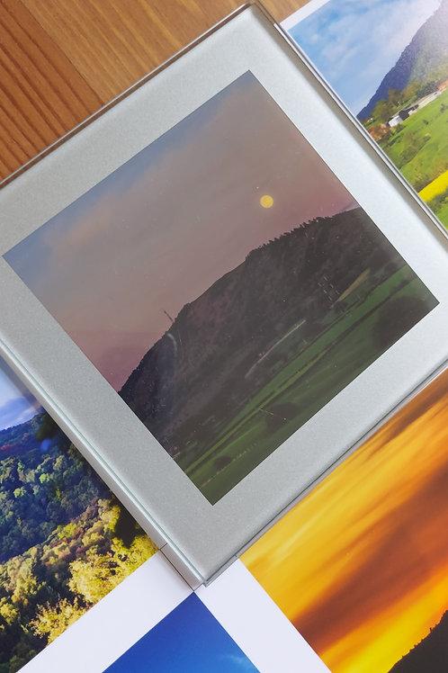 Glass Coaster- Wrekin With Full Moon