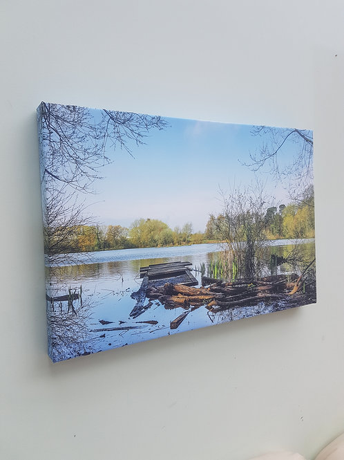 Handmade Canvas Print - Landscape Impressions - Apley Pool in Spring