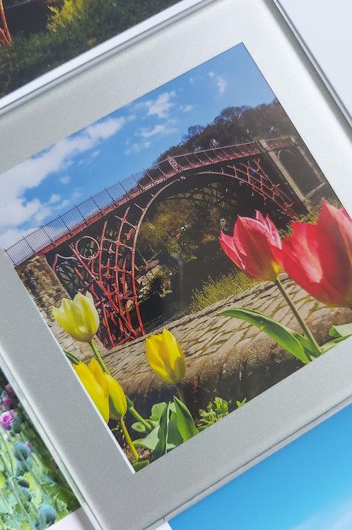 Glass Coaster- Ironbridge With Tulips