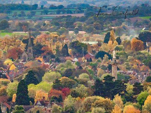 A4 Print - Haughmond Hill Viewpoint over Shrewsbury Close up
