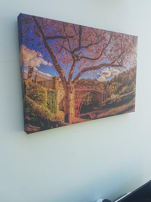 Handmade Canvas Print - Ironbridge with Blossom, Telford, Shropsh