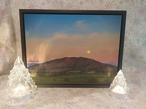 Moonrise Over The Wrekin, Shropshire on A3 Canvas in Stunning Floating Frame
