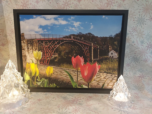 Ironbridge with Tulips A3 Canvas in Stunning Floating Frame