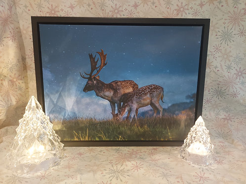 Moonlit Deer Canvas in stunning Floating Frame