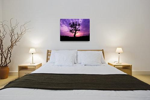 Handmade Canvas Print - Lone Purple Silhouette Tree