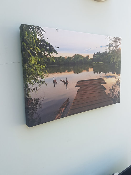 A2 Handmade Canvas - Apley Pool at sunset, Apley Woods, Telford, Shropshire