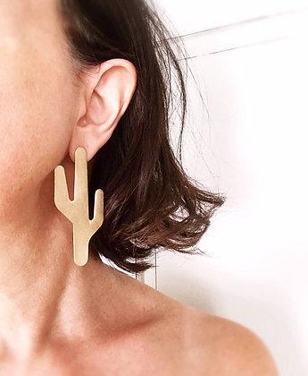 saguaro stud earrings - brushed brass