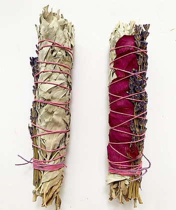Large White Sage + Rose Bud + Lavender Smudge Wand