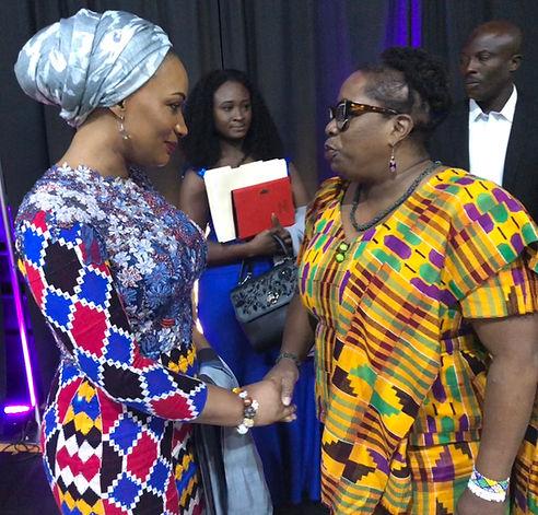 Samira Bawumia & Bonnee Breese Bentum shaking hands