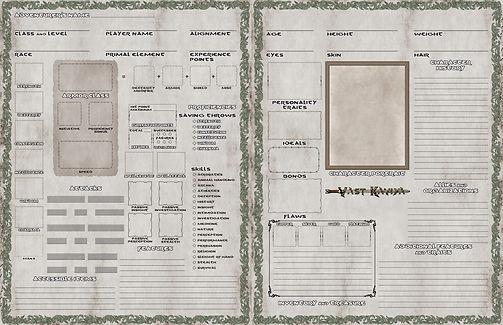 Vast Kaviya DnD 5e character sheets side