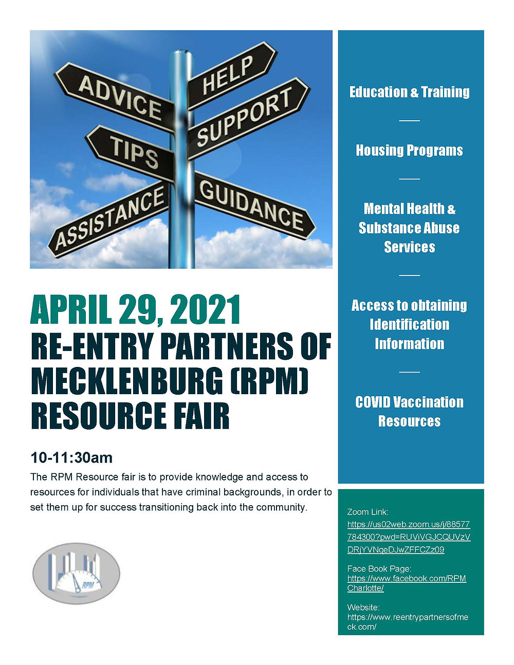 Re-Entry Partners of Mecklenburg Resource Fair 2021
