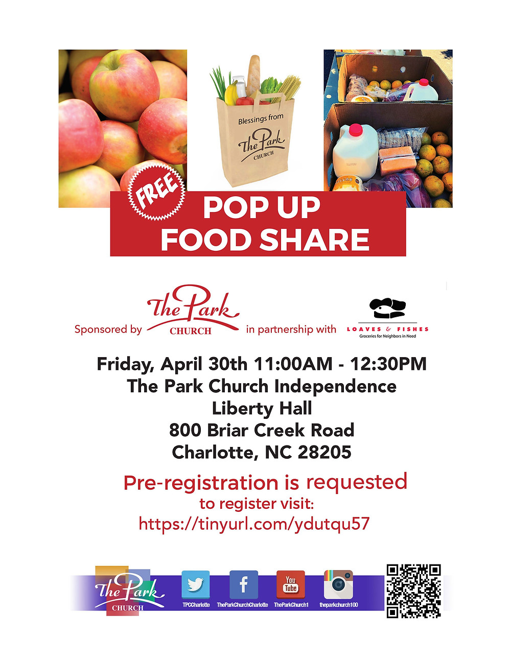 Pop Up Food Share April 30 2021 Loaves & Fishes, The Park Church