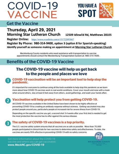 Covid Vaccine, Thursday, April 29, 2021, Morning Star Lutheran Church