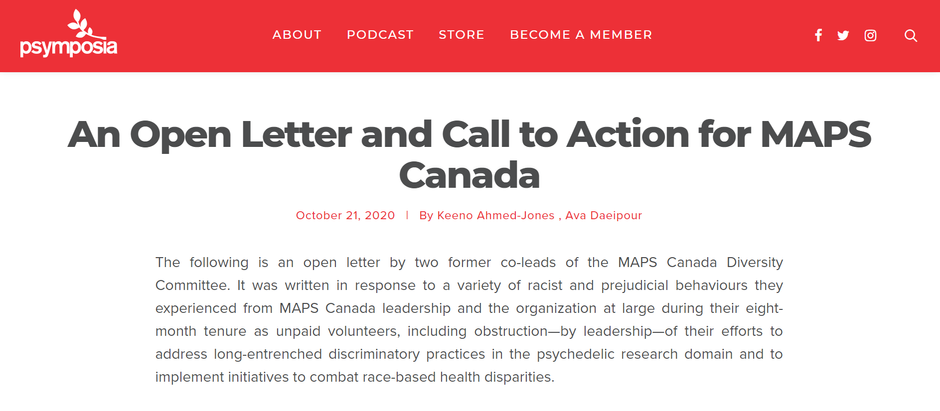 An Open Letter and Call to Action for MAPS Canada