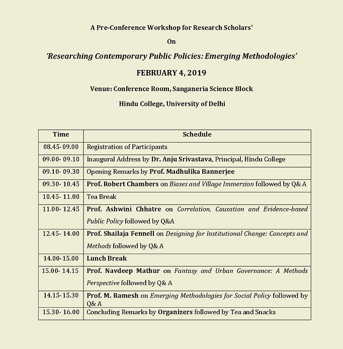 Schedule for Research Scholars Workshop.