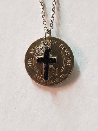 N27-NRC Carlisle 5 Cent Scrip w/ Coal Cross & Swarovski Crystal Necklace