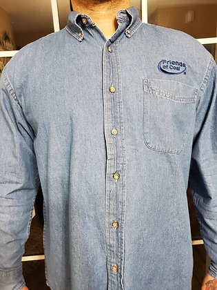 Harriton Long Sleeve Denim Button Up MM550