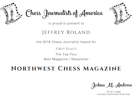 Jeff Roland nominated for Chess Journalist of Year