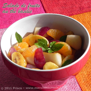 Salade de fruits frais au thé basilic pays