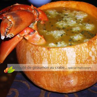 Velouté de giraumon au crabe