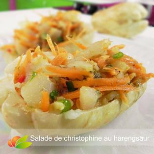 Salade de christophine et harengsaur confit maison