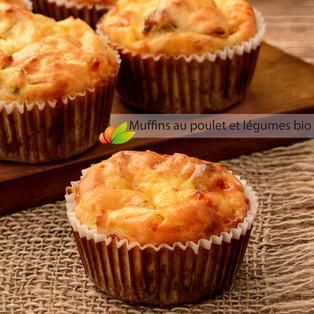 Muffins au poulet et légumes au lait bio