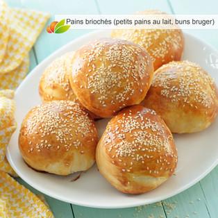 Pains briochés (petits pains au lait traditionnels, buns burger moelleux)