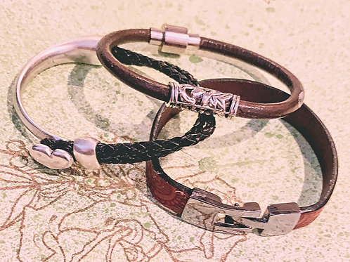 Leather bracelets and necklaces