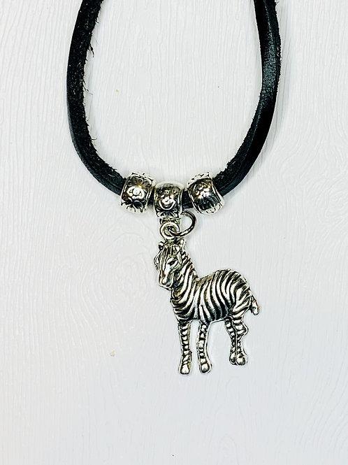 Tibetan Silver Zebra pendant  necklace