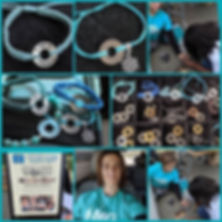 This is a collage of MG bracelets made for the MG awareness walk Ji=u