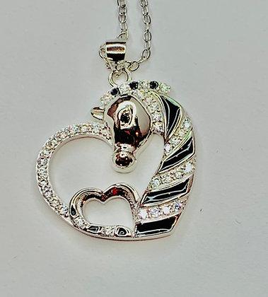 Sterling silver plated Zebra Rhinestone heart