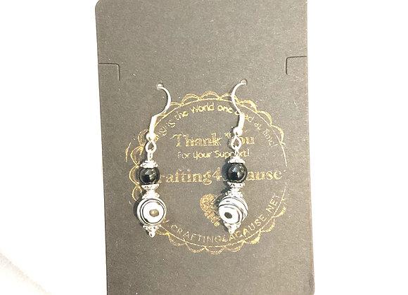 Zebra Malachite and Onyx earrings
