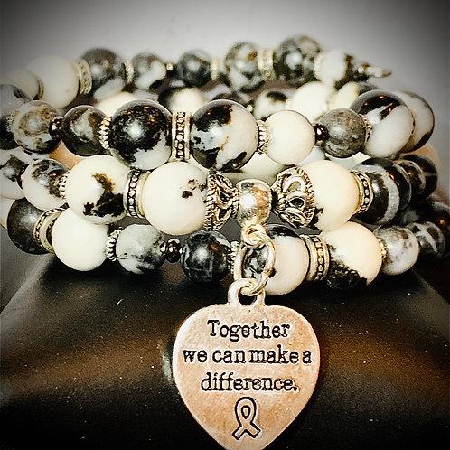 Memory Wire Wrap around bracelet with Zebra Malachite natural stone