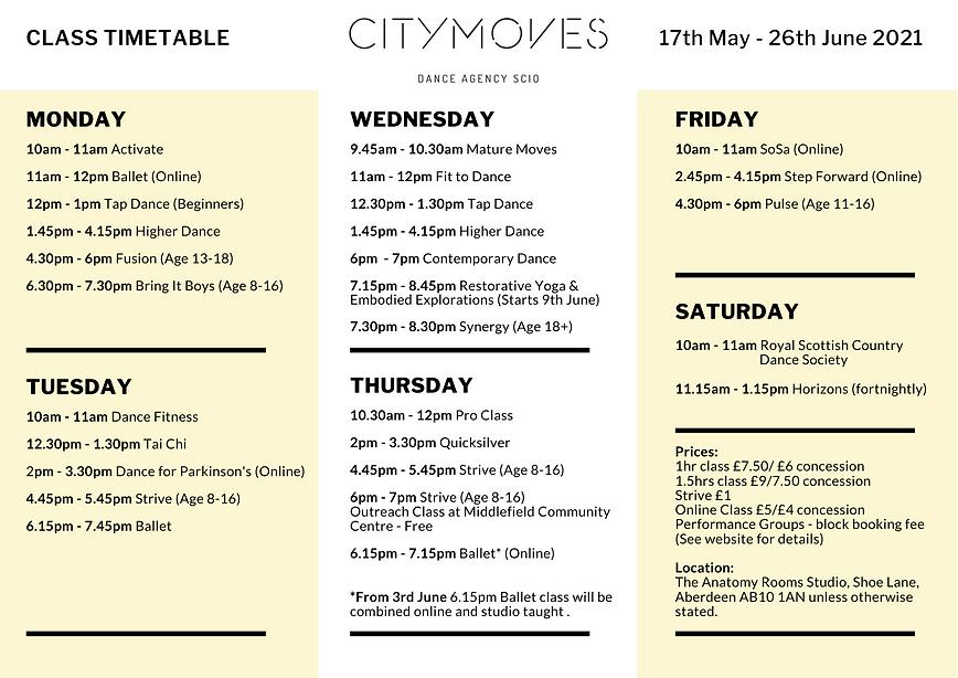 Citymoves Dance Agency Timetable term 4