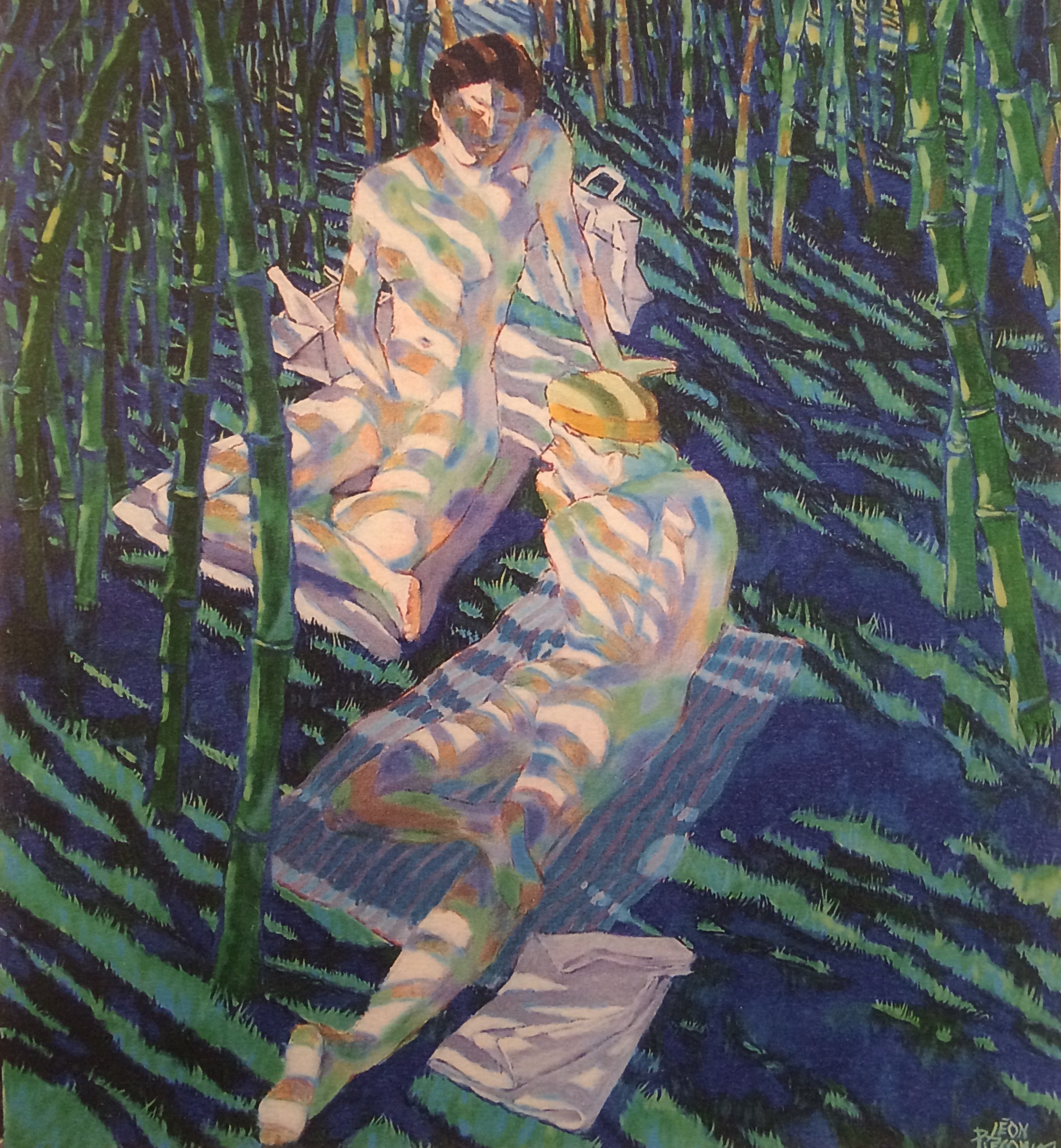 Deux filles dans une foret de bambou