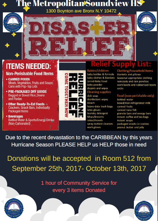 Disaster relief drive, Please help us help those in need! for more information contact Eddie at Mrfrias@metrosoundview.org
