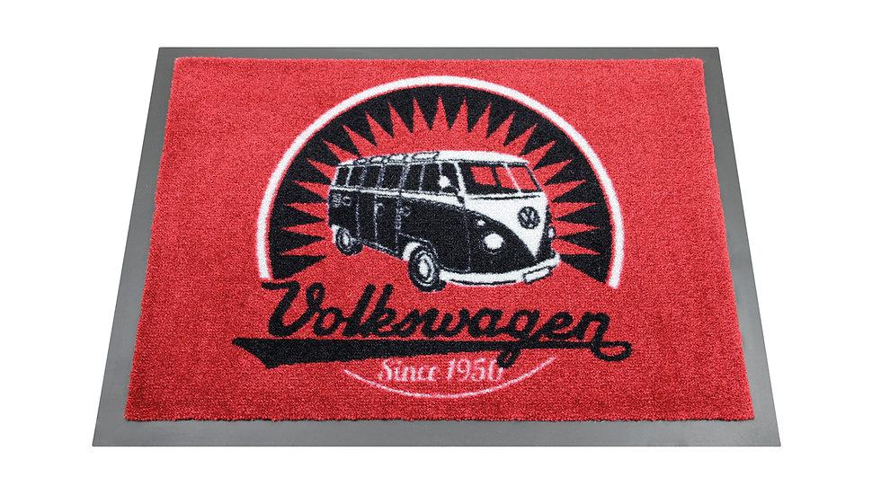 VW T1 Combi Paillasson, 70x50cm - Vintage Logo/rouge