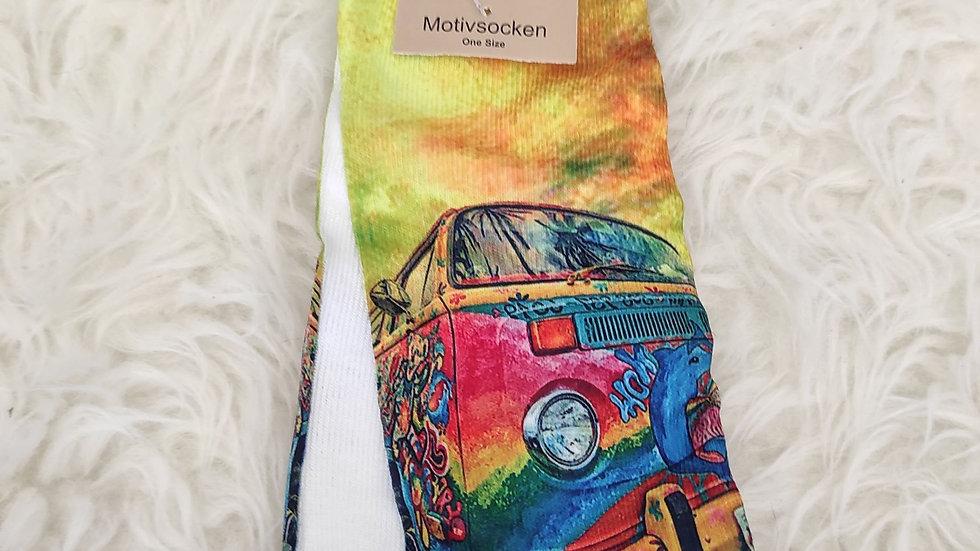 Chaussettes à motifs voiture hippie multicolore