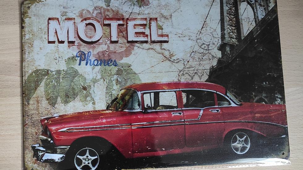 Plaque métal rétro motel