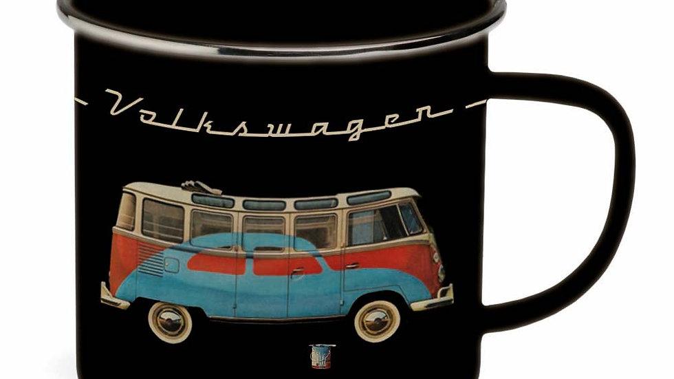 VW T1 Combi & Coccinelle Tasse émaillé 500ml - noir