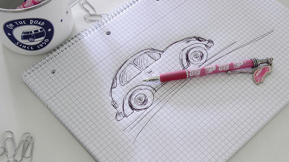 VW Coccinelle Stylo à bille avec pendentif- rose