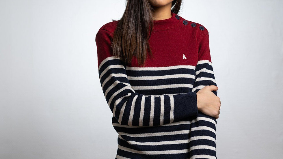 PULL COLIN BORDEAUX MIXTE - MADE IN FRANCE