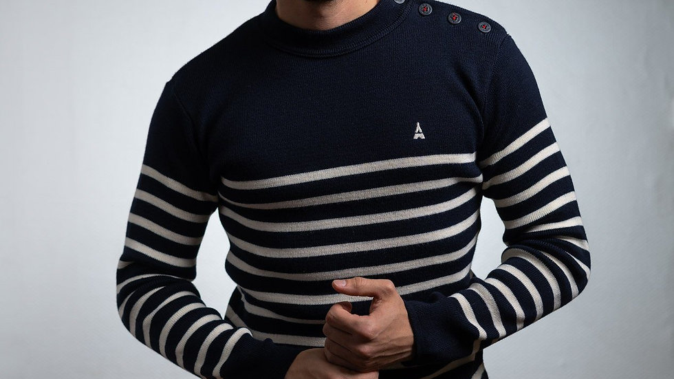 PULL COLIN RAYÉ MIXTE - MADE IN FRANCE