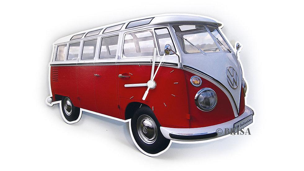 VW T1 Combi Horloge murale 28x18x2,5cm - rouge