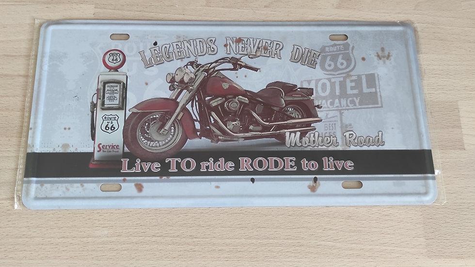 plaque métal rétro moto