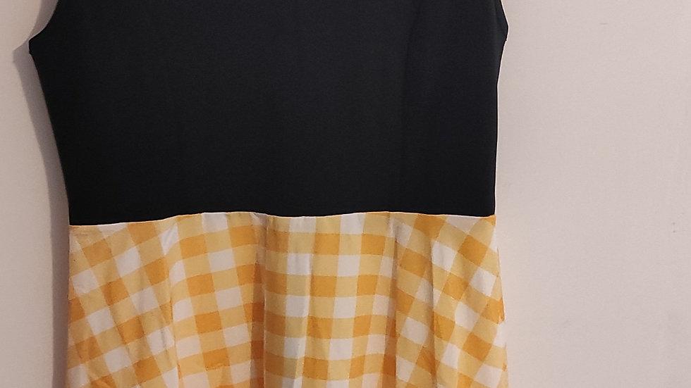 Robe vintage noir/jaune