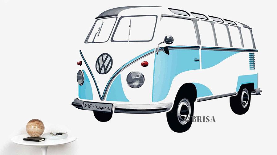 VW T1 Combi Sticker muraux - bleu