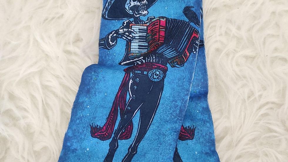 Chaussettes à motifs bleu blanc squelette mexicain