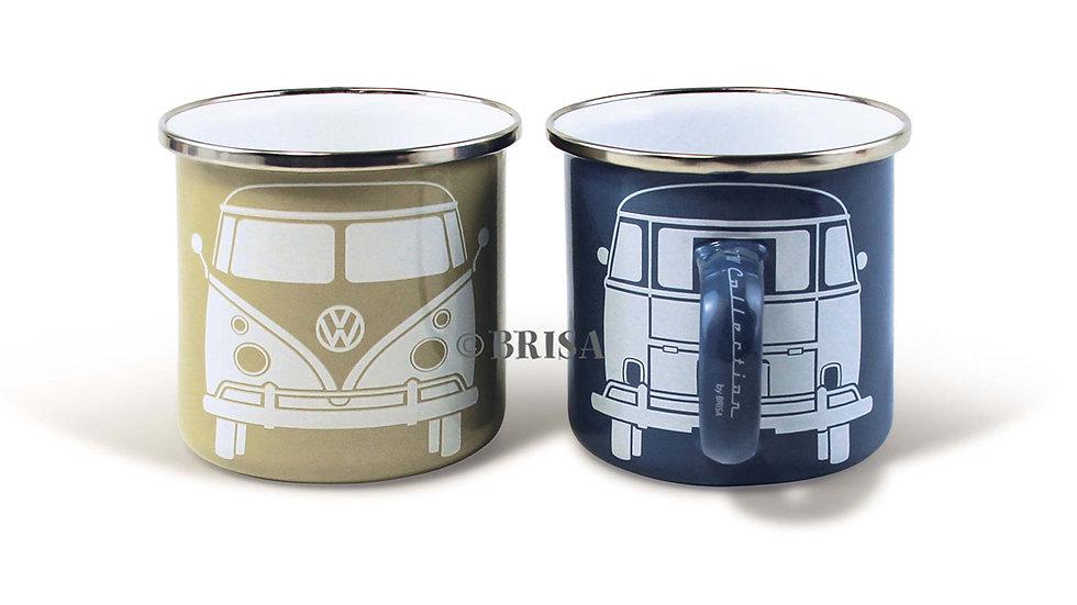 VW T1 Combi Tasse émaillé, 2 pièces, 350ml - bleu/gris
