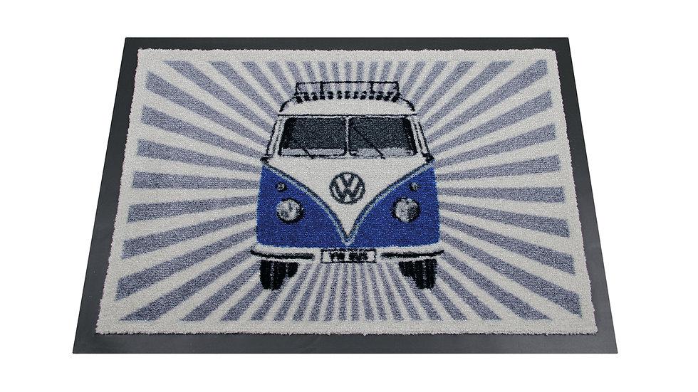 VW T1 Combi Paillasson, 70x50cm - Rayure/bleu